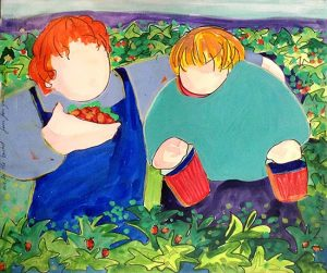 Katherine Porter - One for the Bucket Four for the Mouth painting of two children picking berries