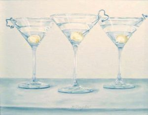 Patti Zeigler Still-life of Martinis in Glasses with Onions