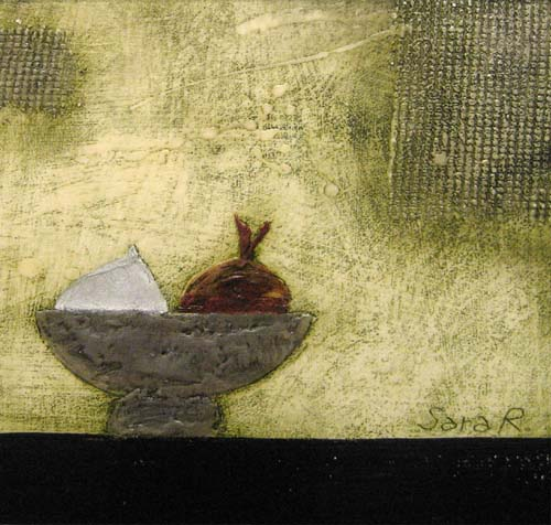 Onions in Bowl (14x14 encaustic on paper)