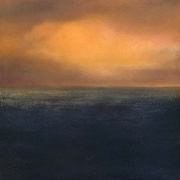 Suzanne Clifford Clark oil painting of ocean and sky with sunset