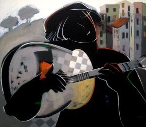 Hessam Abrishami Open Windows Giclee of Person Playing Guitar in City
