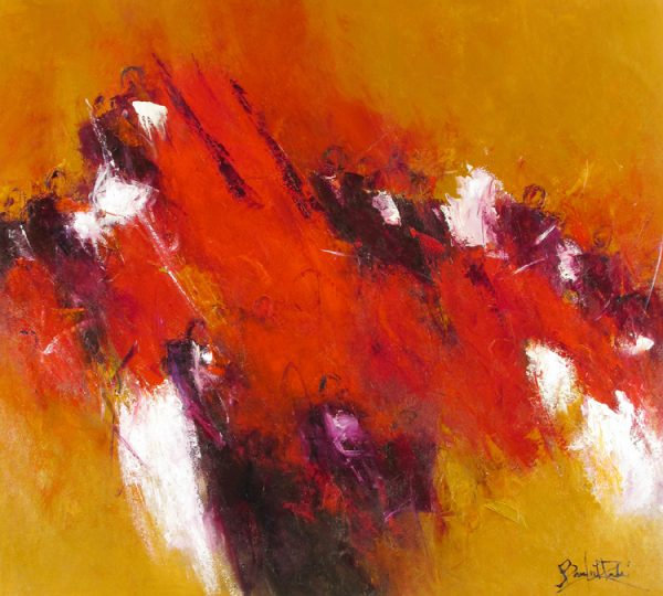 Marcelle Dube Abstract Oil Painting of Symphony Orchestra Playing Music in Ochre Orange Mustard Red and Purple