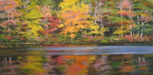 Lynne Adams Orange Blue Reflections (10x20 oil on canvas)