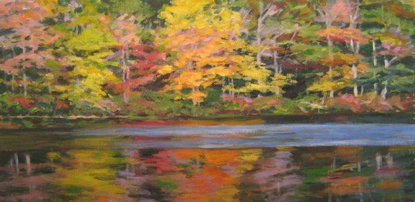 Lynne Adams Orange Blue Reflections (10x20 oil on canvas)