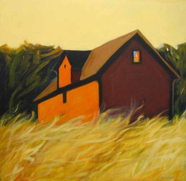 Karen Jones Acrylic Painting of Barn Landscape with Yellow Grass