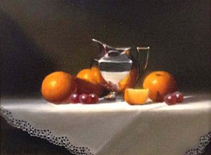 Richard Weers - Oranges & Silver painting with oranges and grapes with silver pitcher