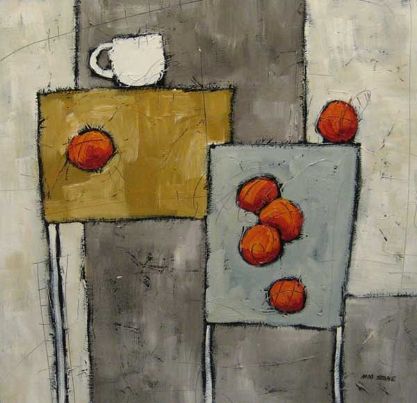 Mia Stone - Painting od oranges with a mug on tables