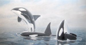 Phil Gidley Painting on Canvas of Whales in the Ocean Breaching