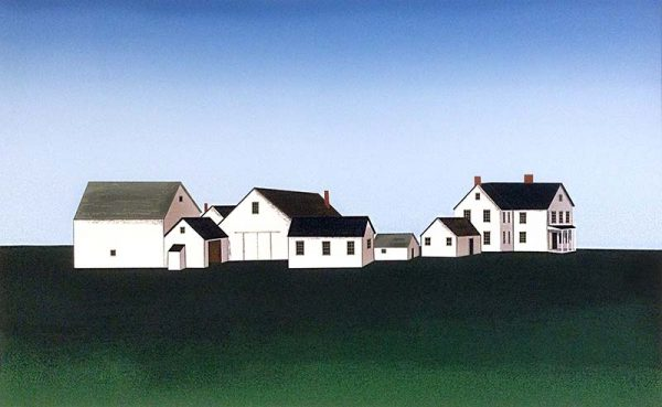 Ted Jeremenko - Orient Point - Serigraph of white houses on a hill