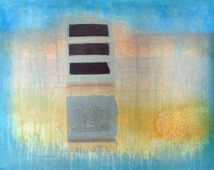 Laurie Goddard Abstract Contemporary Painting of Blue Ochre Orange Yellow Pink and Black