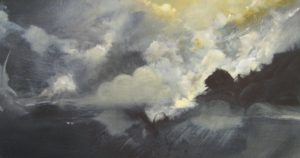 Joerg Dressler oil painting on canvas of abstract clouds in a storm