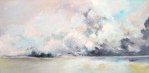 Joerg Dressler abstract landscape oil painting on canvas of clouds