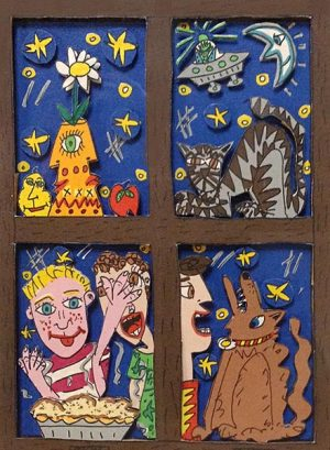 James Rizzi - Outside Looking In print of people and animals through window panes