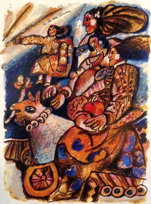 Theo Tobiasse - La-Bas Vers Canaan judaica print of people and donkey with cart