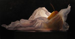 Lorena Pugh Painting of pear and translucent tissue on dark background