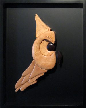 Daniel Jenkins Finished Wood Fine Art Wall Sculpture of Owl Framed