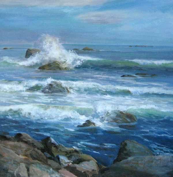 Celia Judge painting of ocean crashing on rocks at beach in Owls Head Maine