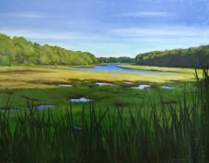 Hilary Baldwin Traditional Blue and Green Oil on Canvas with Tidal Marsh Pools in Sea Grass
