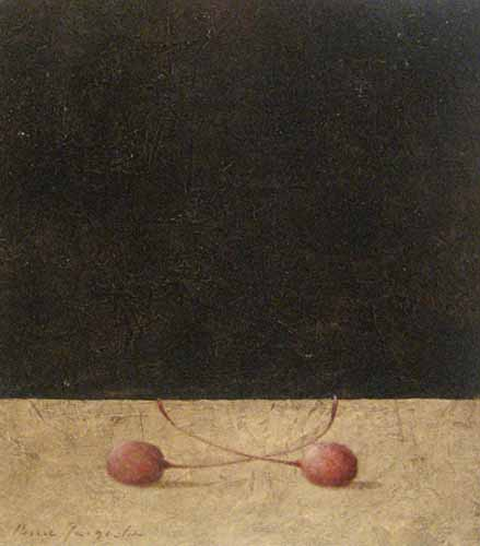 Pierre Jacqueline oil painting on board of cherries on table