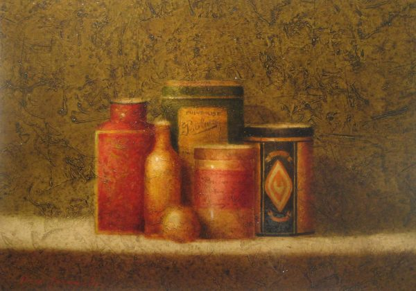 Pierre Jacquelin oil painting of tins on table