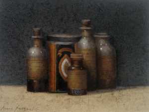 painting of four bottles and a tin