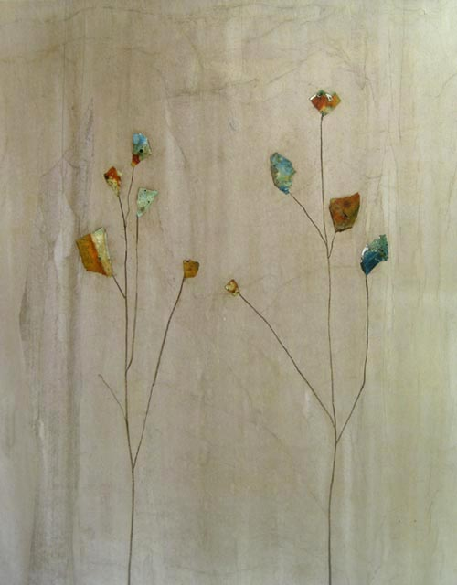 Contemporary Peter Kuttner painting of flowers with hints of gold