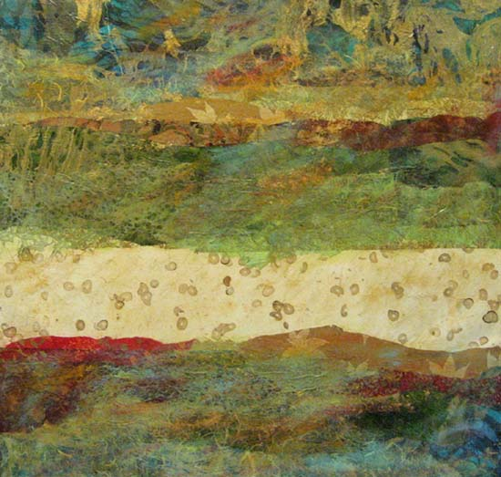 Paul Tiersky Abstract Contemporary Green and Beige Red Mixed Media Organic Natural