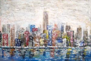 Stephen Rostler Contemporary Cityscape Skyline from Ocean with Blue Green Yellow Red