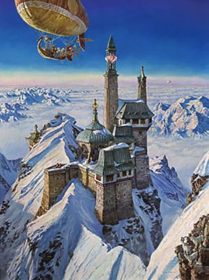 James Gurney - Palace in the Clouds print of castle on top of snowy mountain with airship