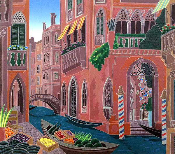 Thomas McKnight - Palazzo with Garden print of canal in Italy