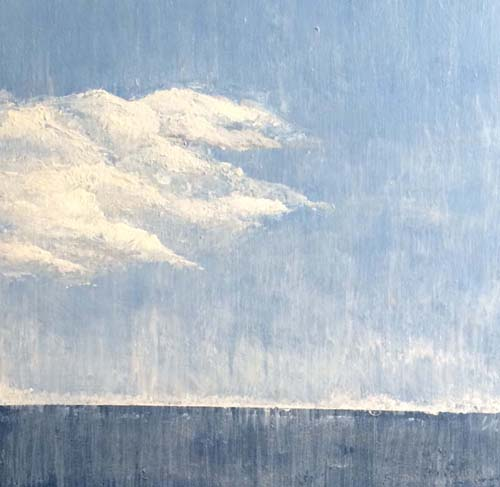 Leah Mitchel Square Contemporary Abstract Oil Painting of Blue Sea Horizon with White Clouds
