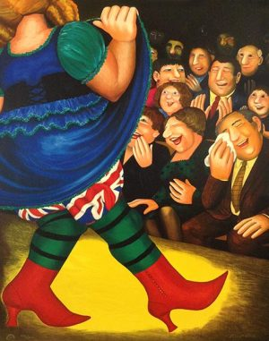 Beryl Cook - Panto Dame print of performer in Union Jack bloomers in front of laughing audience