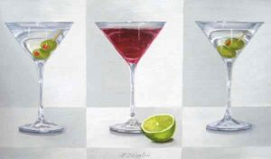 Patti Zeigler Painting of Three Martinis with a Lime