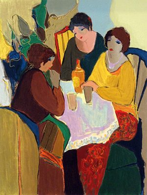 Itzchak Tarkay - Party Time - Colorful serigraph of three women sitting around a table