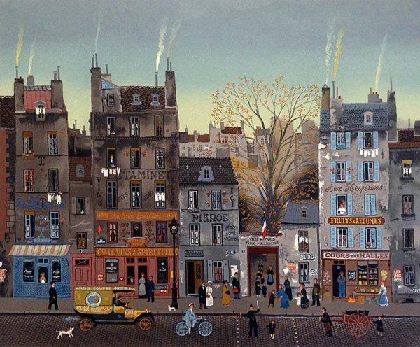 Michel Delacroix - Pasage Cloute print of a busy street in Paris