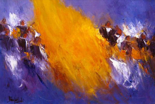 Marcelle Dube Abstract Contemporary Musical Painting of an Orchestra Playing