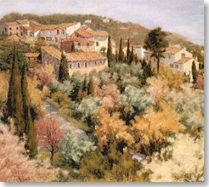 Nicole Clement French village (pastel on paper)