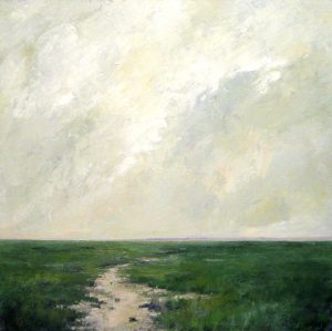Mary Nolan painting of gray sky green marsh on canvas