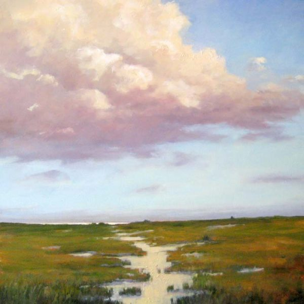Mary Nolan Contemporary Landscape with Green Beach Dunes Marsh and Pink Clouds