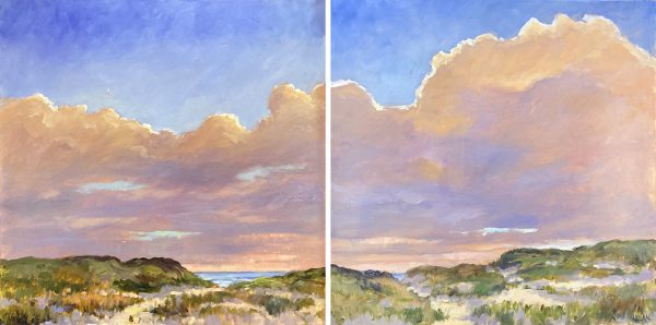 Mary Nolan Painting of Clouds at Sunset on Dunes
