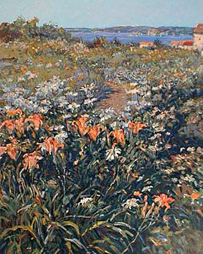 Henri Plisson - Pathway to the Sea print of dirt road surrounded by flowers leading to ocean