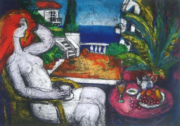 Michael Leu - Patio #59 (23.5x33.5 lithograph on paper)