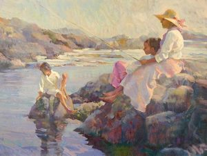 Don Hatfield - Peaceful Cove print of woman with fishing rod and two children sitting on rocks surrounded by water