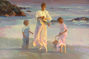 Don Hatfield - Peaceful Days print of a mother and two children walking on the beach