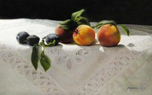 Fenming Ding painting of Peaches and plums on a white tablecloth