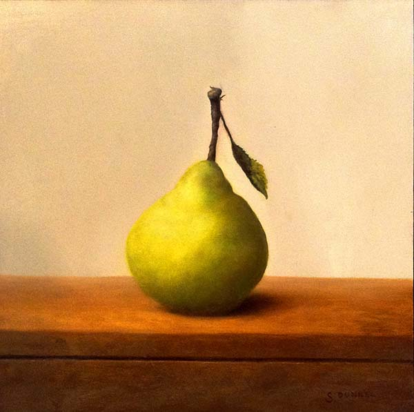 Stuart Dunkel - Pear - Realistic painting of a small green pear