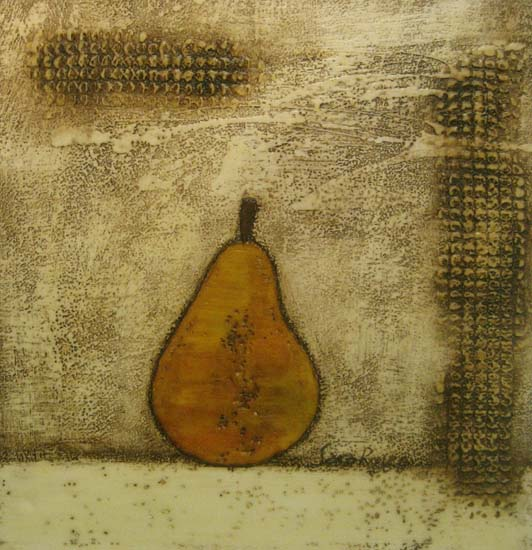 Painting of a pear against a textured background