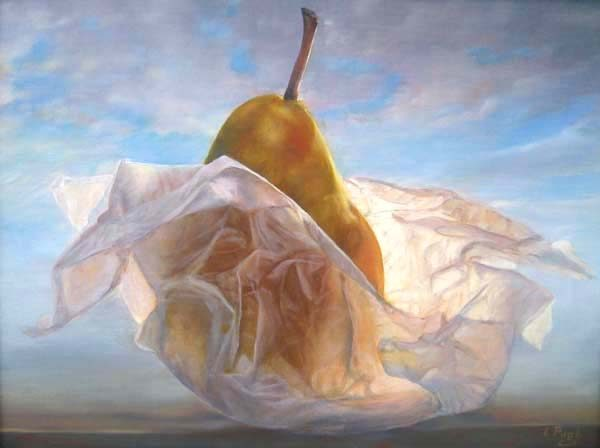 Lorena Pugh - Pear #49 - Painting of a pear in parchment