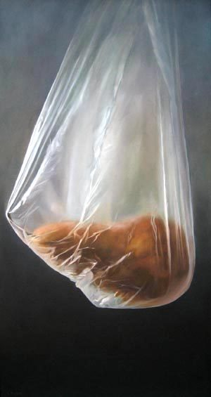 Lorena Pugh oil painting of pear in plastic bag