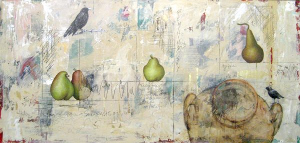 Janette Staley Surreal Collage Painting with Pears